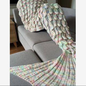 Rainbow knit mermaid blanket